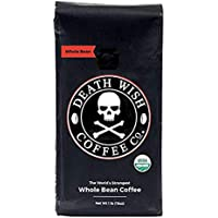 Death Wish Coffee, The World's Strongest Coffee, Fair Trade and USDA Certified Organic, Whole Bean - 1 Pound Bag