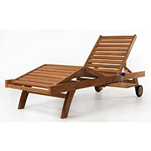 All Things Cedar Teak Chaise Lounge Patio Lawn Garden