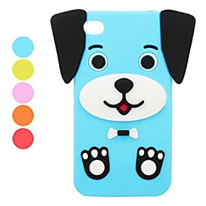 Puppy Silicone Case for iPhone 4 and 4S (Assorted Colors) --- COLOR:Blue