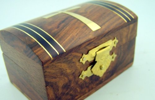 Tapered Cross Wooden Catholic Rosary Box Religious Christian Wood Case