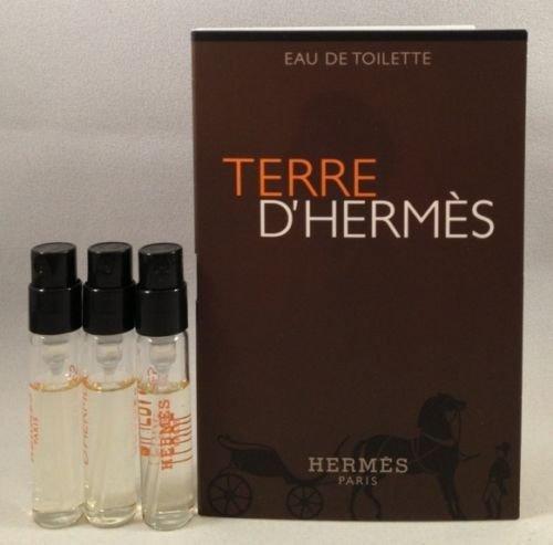 3 Hermes Terre D'hermes EDT Spray Vial Sample .06 Oz/2 Ml Each