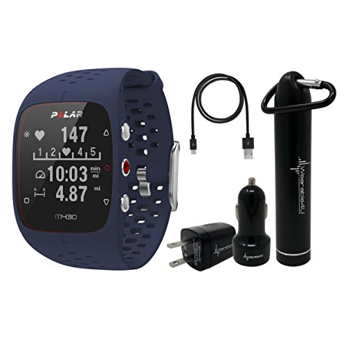 Polar M430 Advanced Running GPS Watch with Wrist-Based Heart Rate Monitor and Wearable4U Ultimate Power Pack Bundle (Blue)