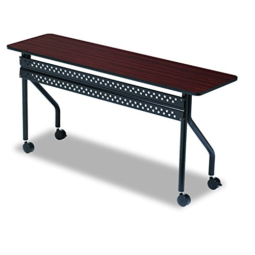 Iceberg ICE68058 OfficeWorks Mobile Training Table with Black Legs, Melamine Laminate, 60'' Length x 18'' Width x 29'' Height, Mahogany by Iceberg