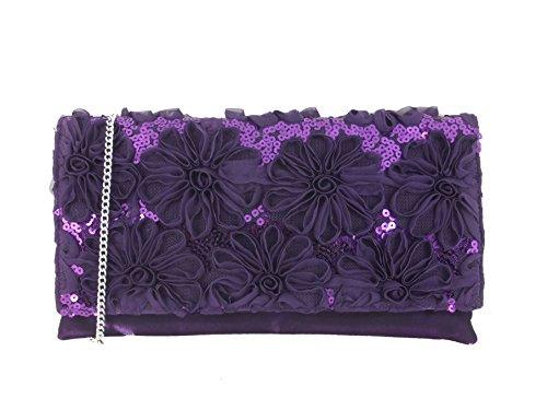 Bag Wedding Party Shoulder Loni Glitzy Clutch Prom Womens Purple Bag Bag Evening Sequin wqzPw8U