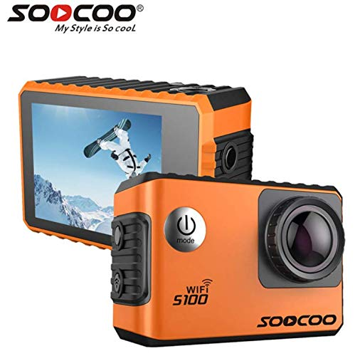 16GB TF Karte + SOOCOO S100 WiFi 4K Sport Action Kamera, HD 4K Gyro 30m wasserdicht Tauchen Mini Camcorder 2.0 Zoll Sport Cam NTK96660 WiFi Helm Sport Action Cam + 1pcs Extra Batterie + 1pcs Ladegerät + GPS Modul (Orange)
