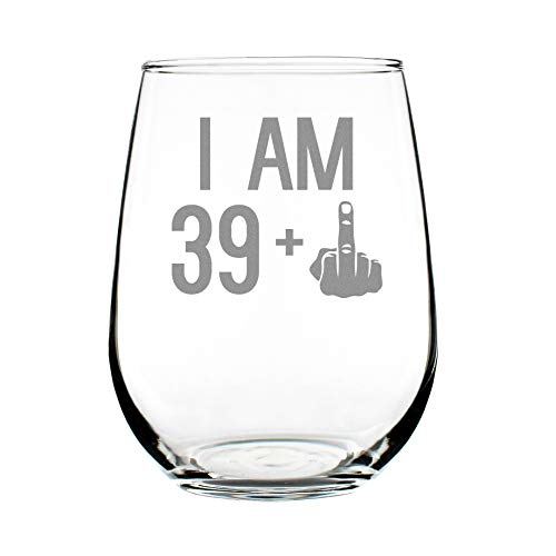 39 + One Middle Finger | 40th Birthday Stemless Wine Glass for Women & Men | Cute Funny Wine Gift Idea | Unique Personalized Bday Glasses for Best Friend Turning 40 | Drinking Party Decoration]()