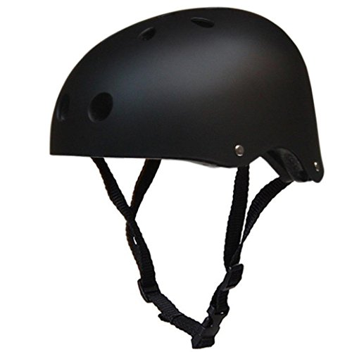 SMYTSHOP Skateboard Helmet Ventilation Protective Helmet for Bicycle Bike Moto Cycling Skiing Skateboard Outdoor Sports (Black, Medium)