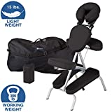 EARTHLITE Portable Massage Chair Package VORTEX - Portable, Compact, Strong and Lightweight incl. Carry Case, Sternum Pad & Strap (15lbs), Black