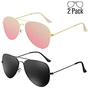 Livhò G 2 Pack of Sunglasses for Men Women Aviator Polarized Metal Mirror UV 400 Lens Protection (Black Grey+Sakura powder)