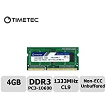 Timetec Hynix IC 4GB DDR3 1333MHz PC3-10600 Non ECC Unbuffered 1.5V CL9 1Rx8 Single Rank 204 Pin SODIMM Laptop Notebook Computer Memory Ram Module Upgrade(High Density 4GB)