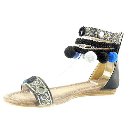 Angkorly - Scarpe da Moda sandali aperto donna pon pon multi-briglia intrecciato Tacco a blocco 1.5 CM - Nero