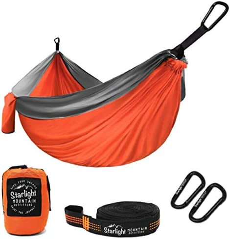 SWTMERRY- Double Camping Hammock Lightweight Nylon Portable Hammocks with Tree Straps Hammock 2 Person Heavy Duty Hammock Backpacking Lightweight, for Adults Kids Hiking Beach Black Gray