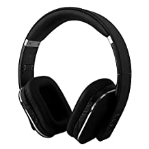 August EP650-Bluetooth Wireless Stereo Headphones - Over Ear Headphones with 3.5mm Wired Audio In-Leather Cushioned-Rechargeable Battery-NFC Tap To Connect and built-in Microphone-Compatible with Mobile Phones, iPad, Laptops, Tablets, etc. (Black)