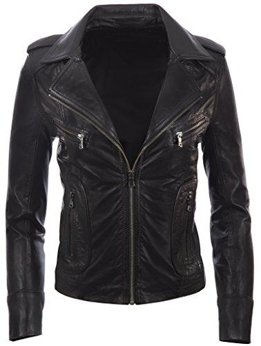 MDK Womens Real Leather Biker Ladies Women's Motorbike Short Fitted Jacket L by MDK