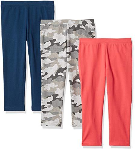 Amazon Essentials   Girls' 3-Pack Capri Legging, Camo/Pink/Blue L