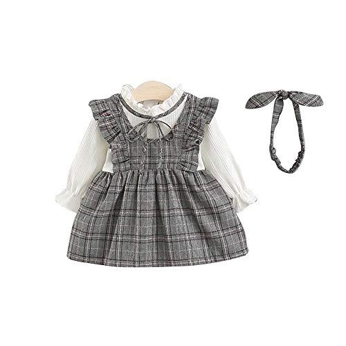 f00ef6174cabf Mornyray ベビー服 ワンピース ドレス チェック柄 重ね着風 仮セット ヘアバンドつき フリル 長袖