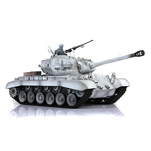 2.4Ghz Remote Control Tank for Adults, HengLong 1/16 Scale USA M26 Pershing RC Tank RTR Plastic Version 3838 Winter Snow (Version Control Plastic)