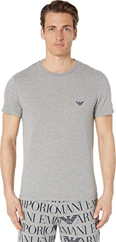 Emporio Armani Men's Logomaniac Terry T-Shirt Printed Melange Grey Large