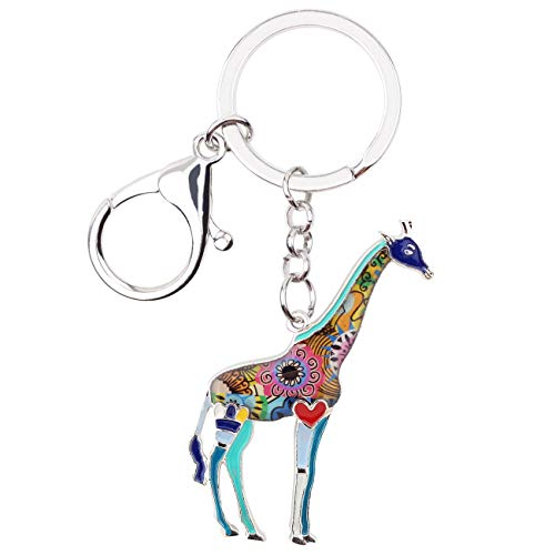 WEVENI Enamel Alloy Africa Jungle Giraffe Key Chain Rings Keychain Charms For Women Girls Bag Car Novelty Jewelry Gift (Blue)