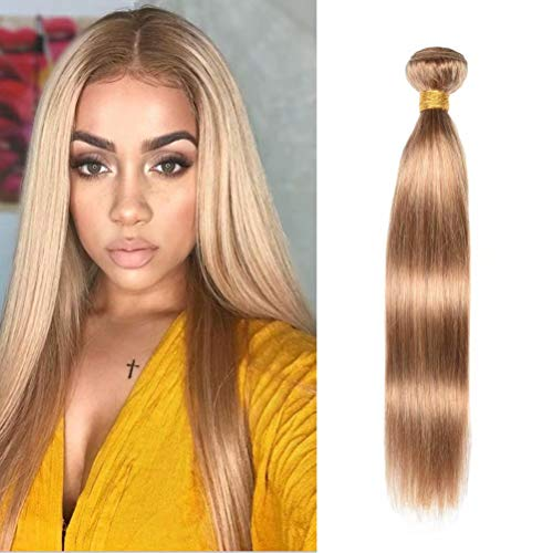 """WOME Peruvian Straight Hair Bundles 1 Bundle Honey Blonde Straight Human Hair Wefts Hair Extensions Deal with Mixed Lengths(20"""", Honey Blonde 27#)"""