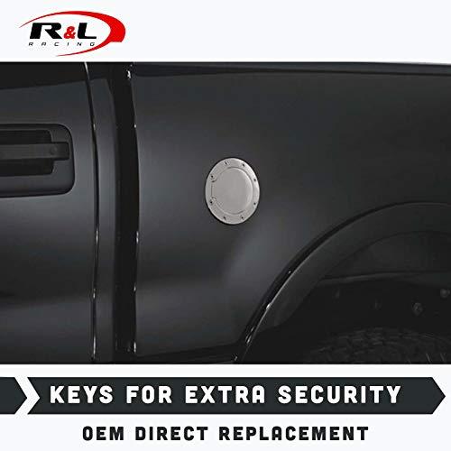 R&L Racing Chrome Gas Door Cover Aluminum Fuel Cap + Lock Key 1997-2003 for Ford F150/F250 Light Duty