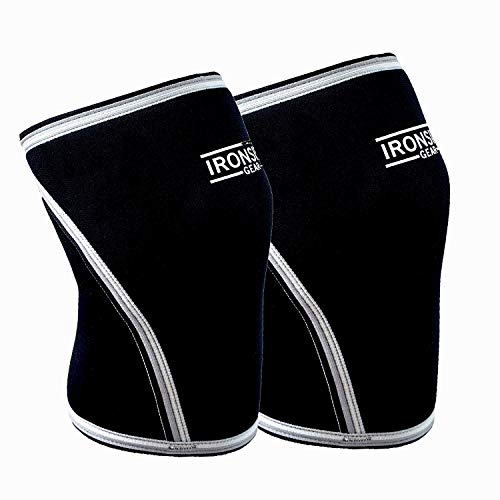 Knee Sleeves (1 Pair) 7mm Neoprene Thick 3D Compression Knee Brace Support with Workout Log for Weightlifting, Powerlifting, Squatting & Crossfit Training Fitness for Women and Men (Large)