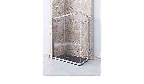 Modelo DAMARA - Mampara de ducha angular de 2 hojas fijas y 1 ...