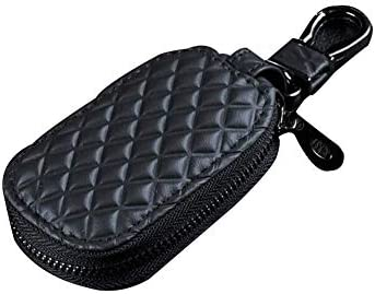 車のキーチェーンバッグ、本革スマートコインホルダーケースカバーポーチリモートフォブキーリングバッグ財布ジッパーケース