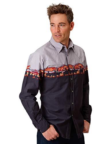 - Roper Men's Border Print Snap Long Sleeve Western Shirt Blue Medium