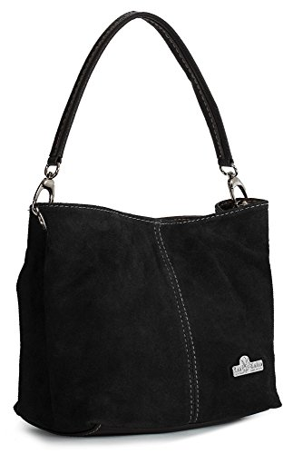 Leather Single Hobo Strap Bag Mini Slouch Womens Real LIATALIA Italian Suede DEMI Black ZxSXwwYq