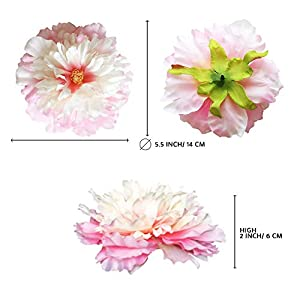 Large Baby Pink Vintage Peony Rose Craft Flowers for Boho and Rustic Wreaths, Flower Crowns and Millinery Supplies, Cake Decorating, Party and Home Decor and Flower Craft. Handmade 8 heads x 5 inches 5