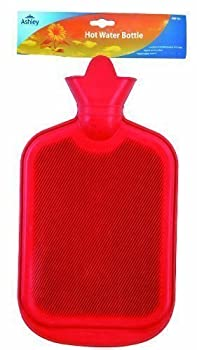 2L Hot Water Bottle Natural Ribbed Rubber BS Standards in Red Yellow or Blue (Blue)