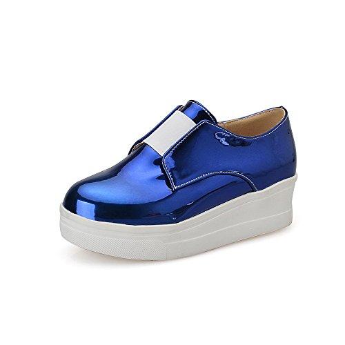 Amoonyfashion Solid Dames Pu Lage Hakken Ronde Gesloten Teen Elastische Pumps-schoenen Blauw