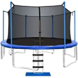 ORCC New Upgrade Trampoline Maximum Weight Capacity 400LBS with Safety Enclosure Net Wind Stakes Rain Cover Ladder, 15…