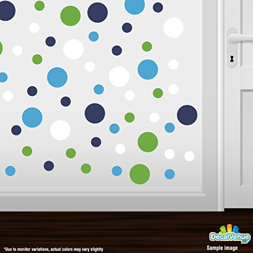 Set of 60 Circles Polka Dots Vinyl Wall Graphic Decals Stickers (Lime Green / White / Navy Blue / Ice Blue)