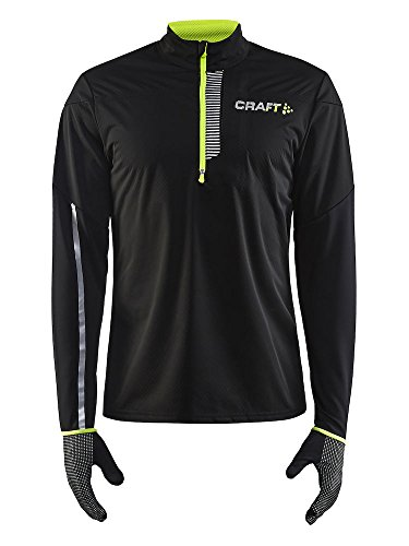 Craft Sportswear Men's Repel Running and Training Outdoor Sport Windproof and Waterproof Reflective Wind Jersey, Black/Flumino, X-Large