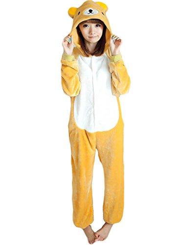 Yimidear Unisex Adult Pajamas Cosplay Costume Rilakkuma Onesie Sleepwear Yellow