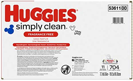 41cP46Y65OL. AC Huggies Simply Clean Unscented Baby Wipes, 11 Flip Lid Packs (704 Wipes Total)    Huggies Simply Clean Fragrance Free Baby Wipes deliver the perfect combination of convenience and versatility. Perfect for sensitive baby bottoms, as well as wiping hands, faces and surfaces for toddlers & children. Simply Clean unscented baby wipes are a great solution wherever you go, whether it's around the house, at the playground or in the car. Because Kids Outgrow Diapers, Not Messes. Simply Clean Wipes are hypoallergenic, dermatologically tested & pH-balanced to help maintain healthy skin. They're also fragrance free, alcohol free, paraben free and do not contain phenoxyethanol or MIT. Huggies Simply Clean Wipes are available in a variety of package options, perfect for use at home and on the go: flip lid packs, refill packs, reusable nursery tub and the stylish Clutch 'N' Clean refillable travel pouch. You can also choose between Fragrance Free and Fresh Scent varieties. Don't get caught without Huggies wipes! Sign up for Subscribe & Save to ensure you always have Huggies Simply Clean Wipes on hand. Join Huggies Rewards+ Powered by Fetch to get rewarded fast. Earn points on Huggies diapers and wipes, in addition to thousands of other products to redeem for hundreds of gift cards. Download the Fetch Rewards app to get started today!