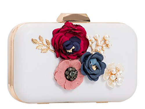 Clutch Women's Case Evening Floral Handbag Hard Bag Floral LeahWard White Wedding wqItPd1dx