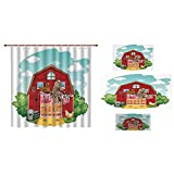 iPrint Bathroom 4 Piece Set Shower Curtain Floor mat Bath Towel 3D Print,Living in Barnhouse Chicken Pig Horse Domestic Rural,Fashion Personality Customization adds Color to Your Bathroom.