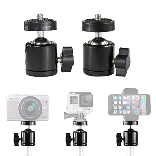"2PCS Mini Ball Head with 1/4"" Screw Thread Base Mount for HTC Vive/Vive Base Station, Sensor Lighthouses, Multi-Function Swivel Joint Ball Head for Speaker, LED Video Light, LCD Monitors"