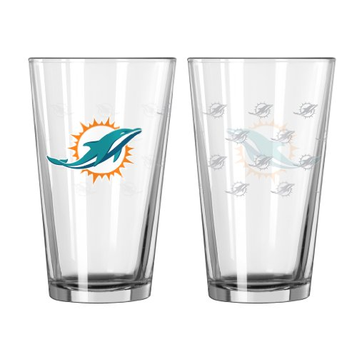 Boelter Brands NFL Miami Dolphins Satin Etch Pint, 16-Ounce, 2-Pack