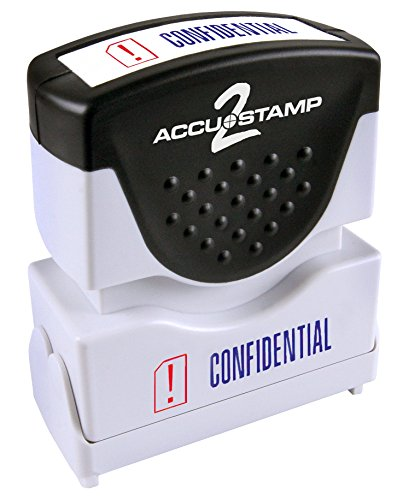 "ACCUSTAMP ""CONFIDENTIAL"" Shutter Stamp with Microban Protection, Pre-Inked Red and Blue, Message Stamp (035536)"