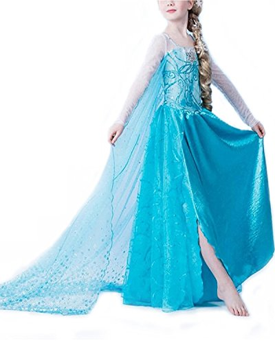 Reines Des Neiges Costume (Nice Sport Big Girls' Princess Elsa Frozen Birthday Dress Carnival Costume 104-110 cm (3 ans) Blue)