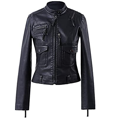 LLF Women's Faux Leather Simple Moto Biker Jacket