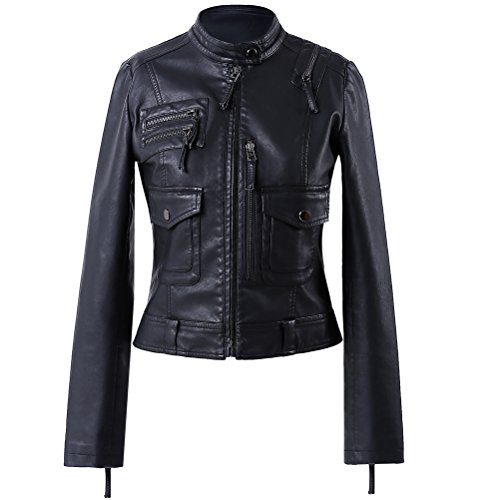 LLF-Womens-Faux-Leather-Simple-Moto-Biker-Jacket