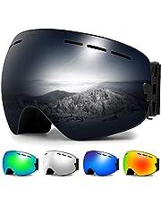 Zerhunt Skibrille, Snowboard-Schutzbrillen Spiegelscheibe OTG mit UV-Schutz, Anti-Nebel, Winddicht Skibrille für Wintersportarten, Skifahren, Skaten, Damen,Herren,für Brillenträger geeignet
