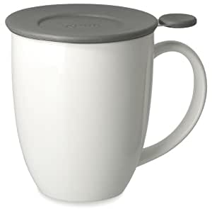 FORLIFE Uni Brew-in-Mug with Tea Infuser and Lid, 16-Ounce, White