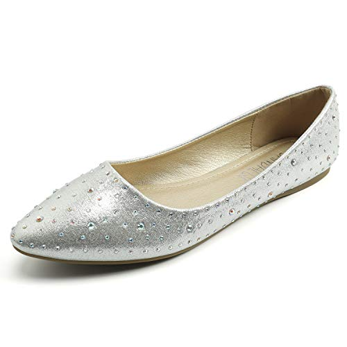 SANDALUP Sparkly Rhinestone Pointed Toe Flats Flat Shoes for Women Silver 08
