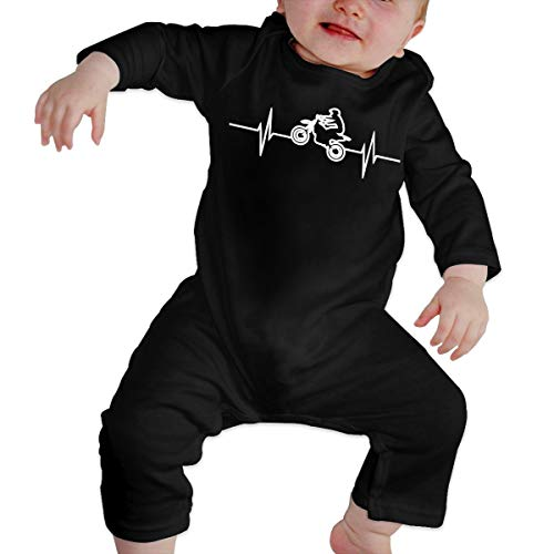 Long Sleeve Cotton Rompers for Unisex Baby, Cute Dirtbike Heartbeat Jumpsuit Black]()
